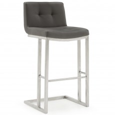 Asolo Bar Stool Faux Leather Grey