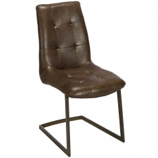 Charlie Dining Chair Faux Leather Brown With Cantilever Leg