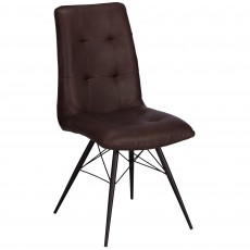 Charlie Dining Chair Faux Leather Brown With Legs