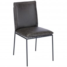 Harper Dining Chair Faux Leather Dark Grey