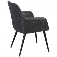 Oliver Carver Dining Chair Faux Leather Grey