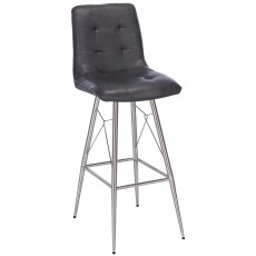 Andrea Bar Stool Faux Leather Grey