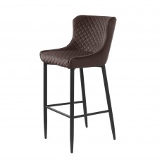 Quebec Bar Stool Faux Leather Brown