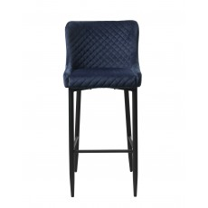 Quebec Bar Stool Velvet Fabric Blue