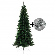 180cm/6ft Lodge Slim Pine Tree & 360 LED Twinkle Multi Coloured Lights