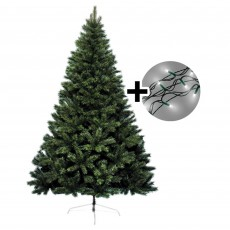 210cm/7ft Canada Tree & 750 LED Twinkle Multi Coloured Lights