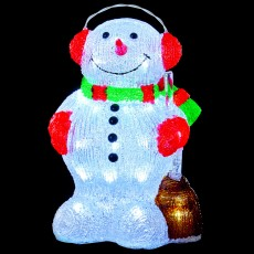 Acrylic Snowman With Broom Light 33.5cm