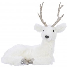 Foam Deer With Antlers Laying White 41cm