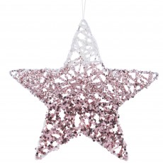 Iron Glitter Star With Hanger Wild Rose 15cm