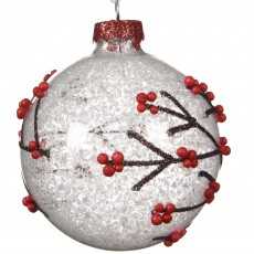 Glass Bauble 8cm Branch With Snow Red Berry
