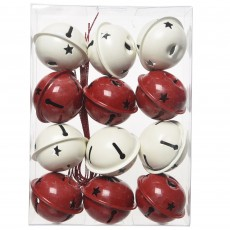 Iron Christmas Bells Red/White 12 Piece Assorted Pack
