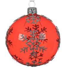 Glass Bauble 8cm Snowflake Christmas Red