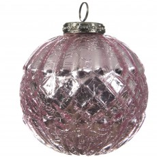 Glass Bauble Crackle Texture Pink 11cm