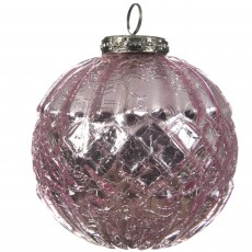 Glass Bauble Crackle Texture Pink 7.5cm