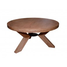Triomphe Weathered Oak 6 Person Round Dining Table + 4 Dining Chairs With Brown Faux Leather Seats