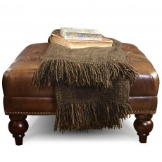 Blenheim Square Footstool Vintage & Hand Rubbed Leather