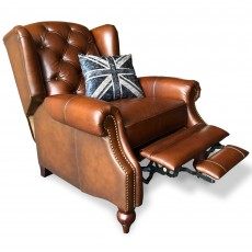 Blenheim Push Back Reclining Wing Chair Vintage & Hand Rubbed Leather