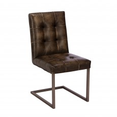 Rupert Dining Chair Faux Leather Brown