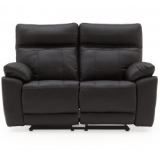 Adolfo Manual Reclining 2 Seater Sofa Leather Black