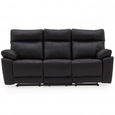 Adolfo Manual Reclining 3 Seater Sofa Leather Black