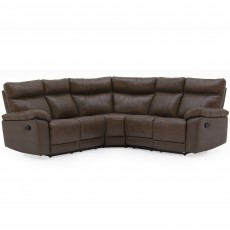 Adolfo Manual Reclining 4 + Seater Corner Sofa Leather Brown