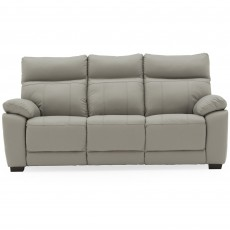 Adolfo 3 Seater Sofa Leather Light Grey