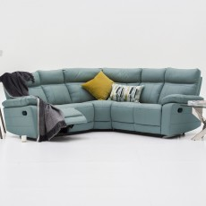 Adolfo Manual Reclining 4 + Seater Corner Sofa Leather Light Grey