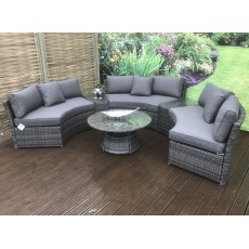 Juliet Brown 8+ Seater Semi Circular Sofa Set With Coffee Table & Side Tables
