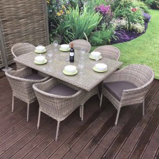 Darcey Sand 6 Person Dining Set With Stackable Chairs