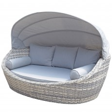 Constance Grey Day Bed With Canopy