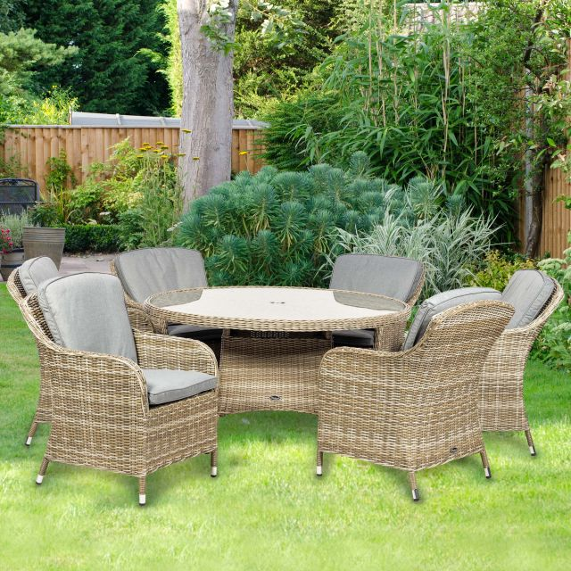 Royalcraft Wentworth 6 Person Rattan Outdoor Round Dining Set With Imperial Chairs & Grey Cushions
