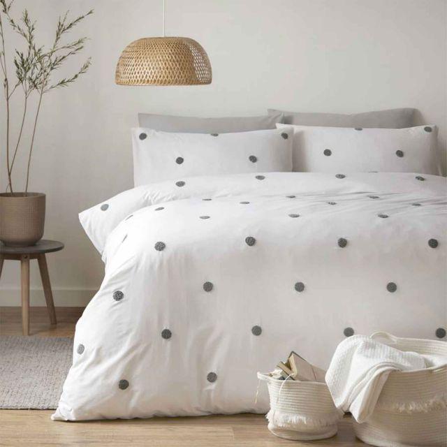 Appletree Dot Garden Duvet Cover Set, Elegant Slate Grey Bedding