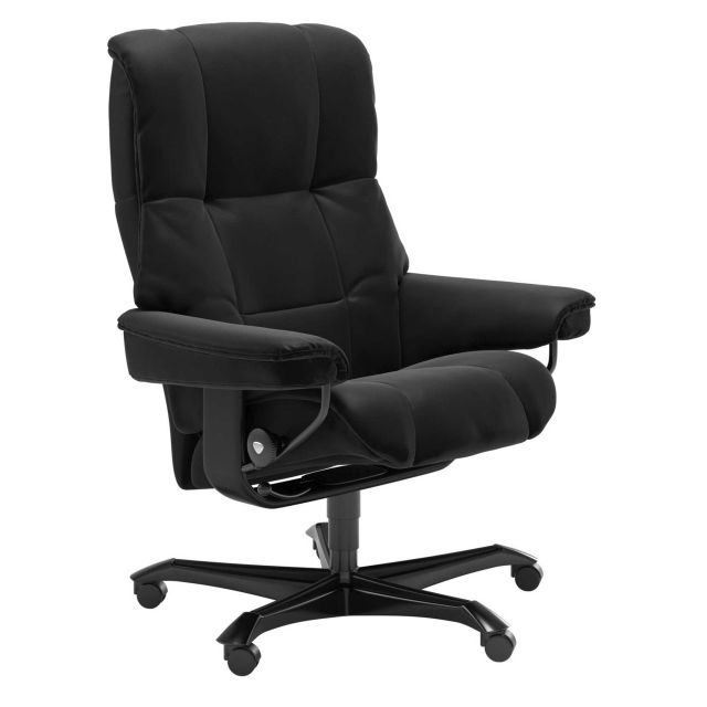 Stressless Mayfair Office Swivel Chair Paloma Leather Black