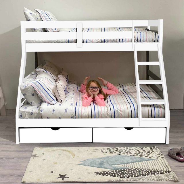 Solar Painted Triple/Dual Storage Bunk Bed White + Single ...