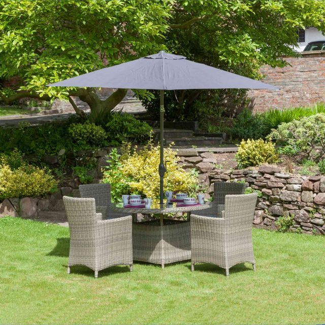 Royalcraft Wentworth 4 Person Round Table Outdoor Dining Set With Carver Chairs & Grey Cushions