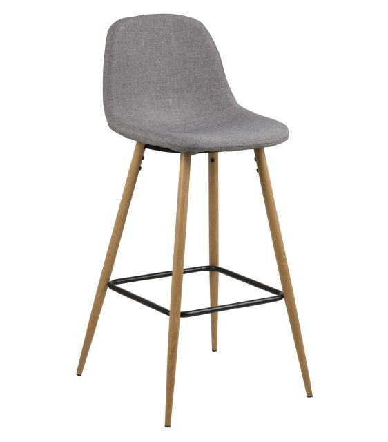 Wilma Bar Stool Fabric Light Grey