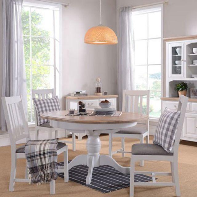 Seychelles Light Grey Oak Person Round Extending Dining Table - Grey round extending dining table