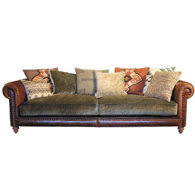 4 Seater Sofas Leather Fabric