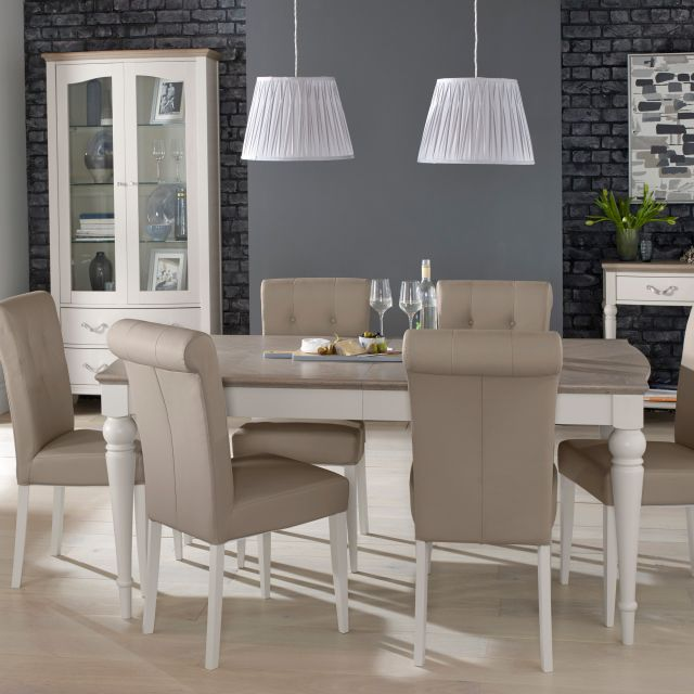 Freeport 6 8 Person Grey Washed Oak Extending Dining Table Faux Leather Chairs