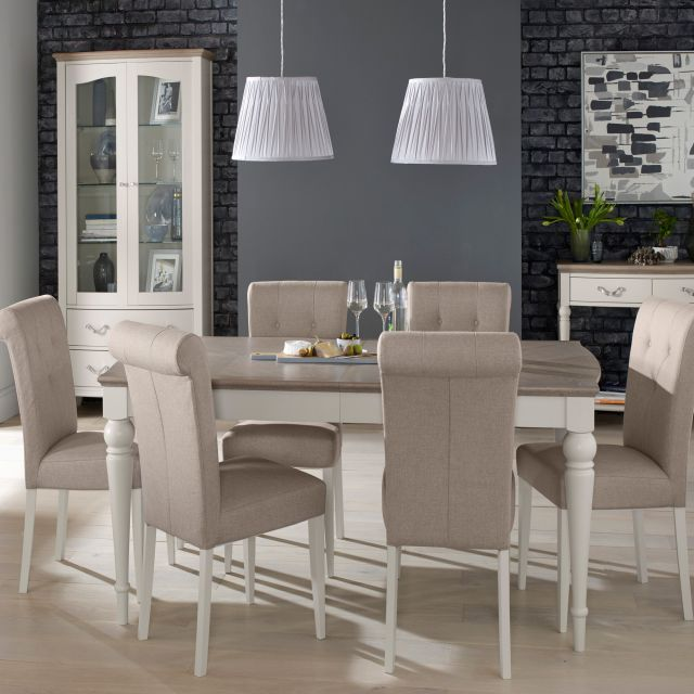 Freeport 4848 Person Grey Washed Oak Extending Dining Table 48 Beauteous Grey Fabric Dining Room Chairs