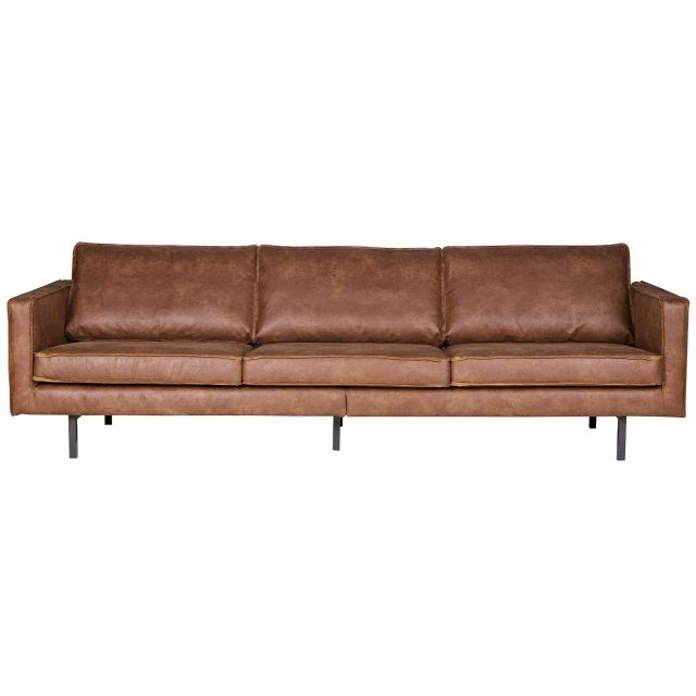 Gut Liege 4 Seater Suede/Leather Look Sofa Cognac