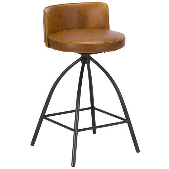 Dylan Swivel Bar Stool Faux Leather Tan
