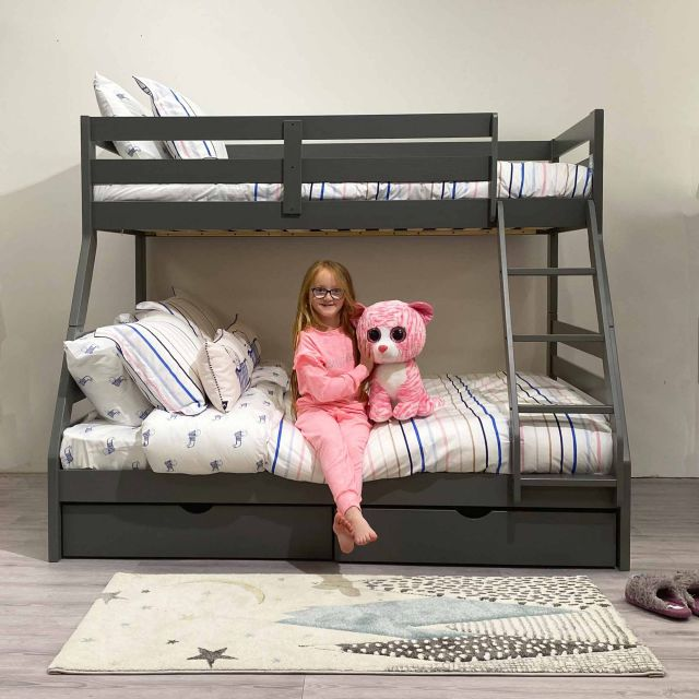 Solar Grey Painted Triple Teen Bunk Bed Kids Beds Meubles