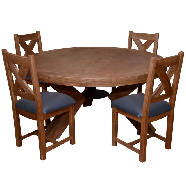 Triomphe Weathered Oak 6 Person Round